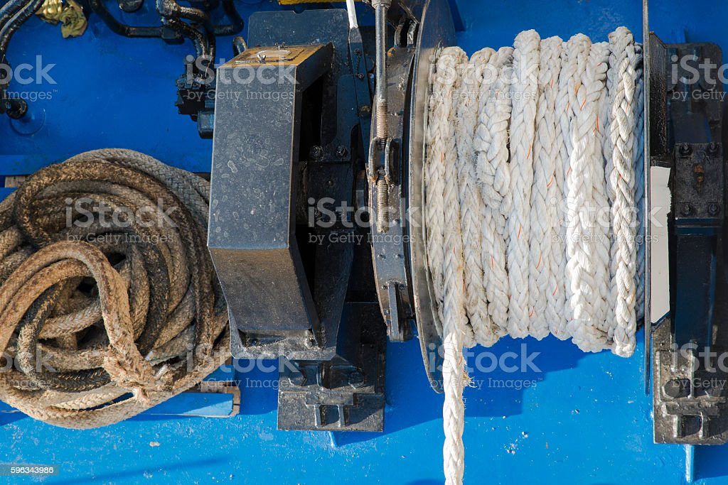 ropes and tie rods on the deck of the ship Lizenzfreies stock-foto