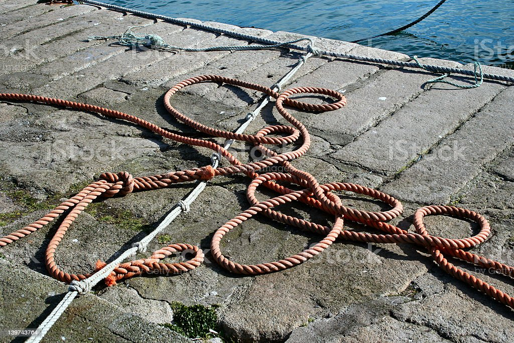 Ropes on a Quayside royalty-free stock photo
