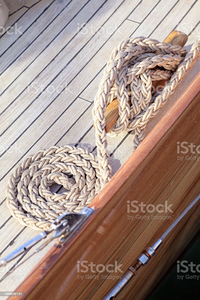 Ropes on old boat deck stock photo