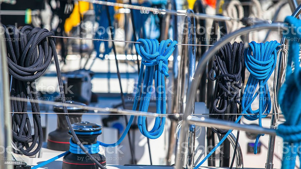 Ropes. Sailing yacht rigging. Ship tackles. royalty-free stock photo