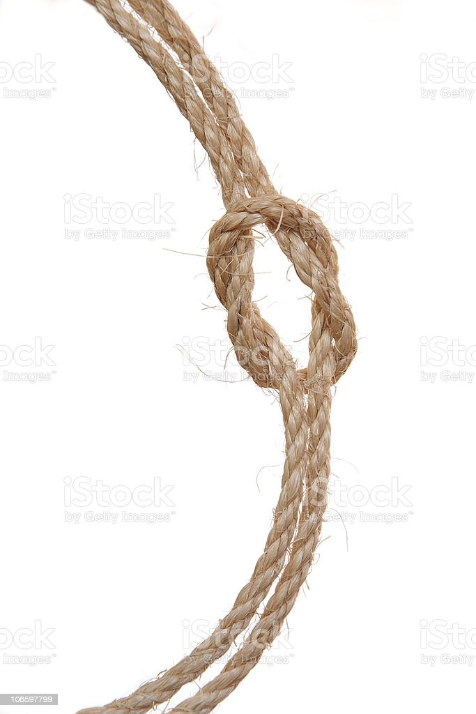 Ropes tied with a reef knot royalty-free stock photo