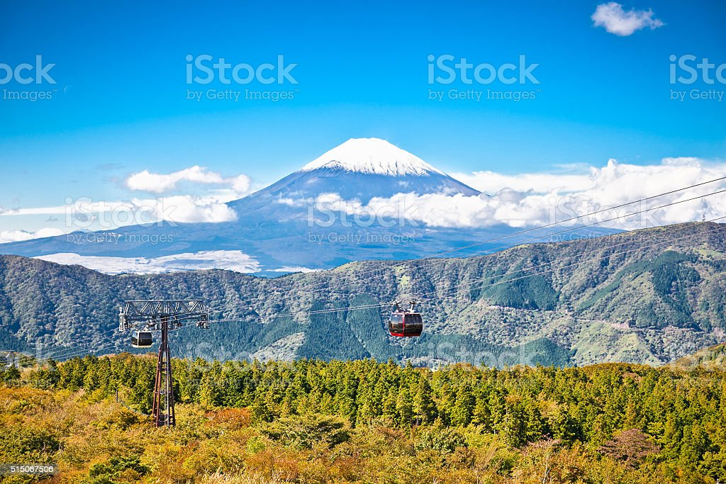 Ropeway at Hakone, Japan with Fuji mountain view stock photo