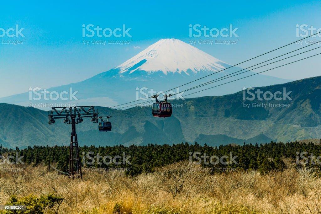 Seilbahn in Japan mit Blick auf Berg Fuji hakone – Foto