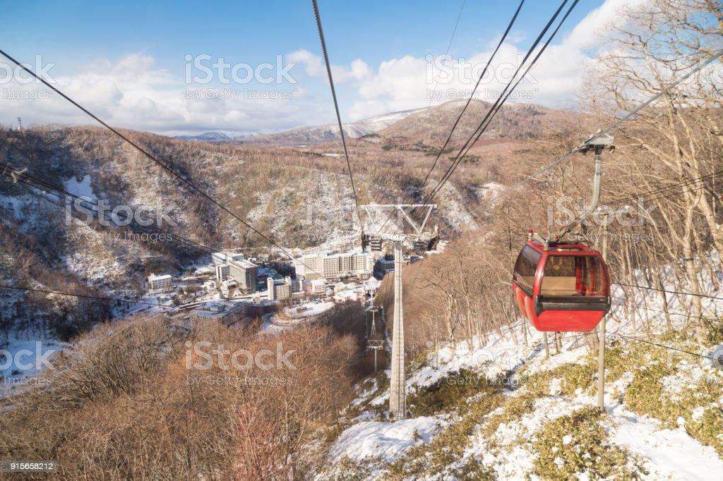 Ropeway of cable car transport Hokkaido Japan.