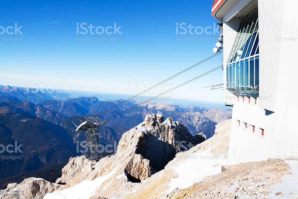 Ropeway station of Austria on Zugspitze stock photo