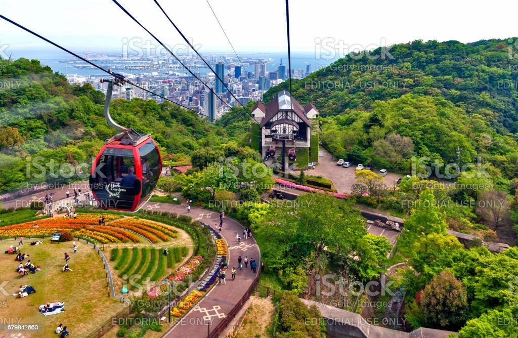 Ropeway to Nunobiki Herb Garden on Mount Rokko in Kobe, Japan stock photo