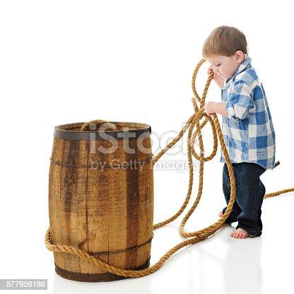 112301234 istock photo Roping a Barrel 577956186