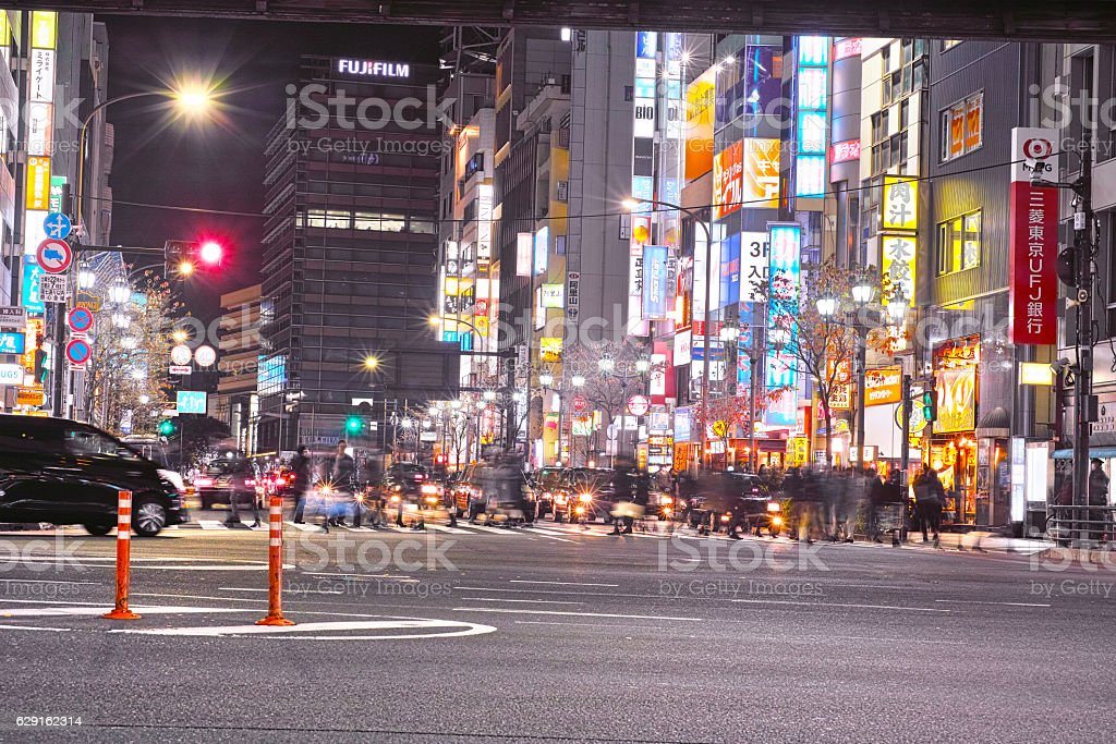 Roppongi intersection at night stock photo