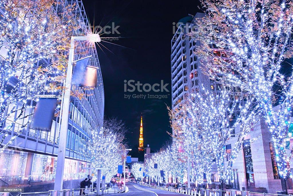 Roppongi Keiryozaka Christmas illumination stock photo