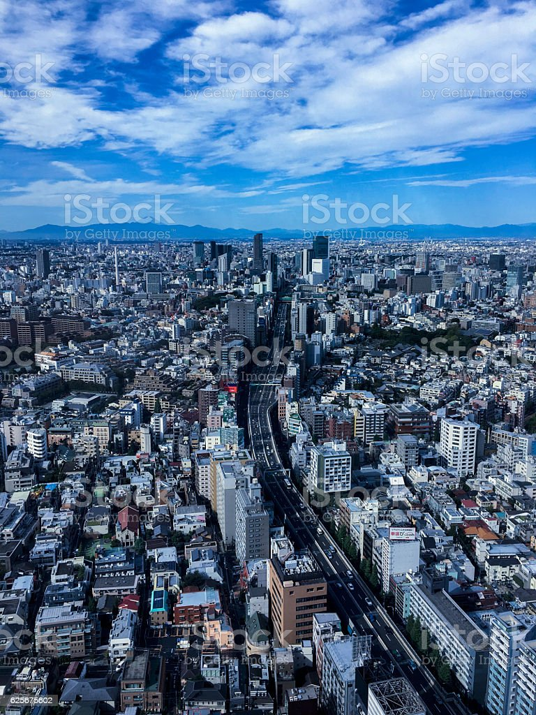 Roppongi Tokyo with Shuto Expressway 3 and Mt Fuji ストックフォト