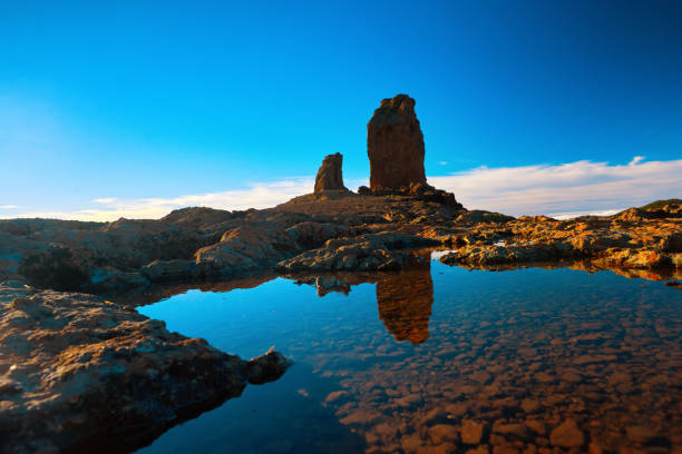 Roque Nublo view in the sunset time - foto stock