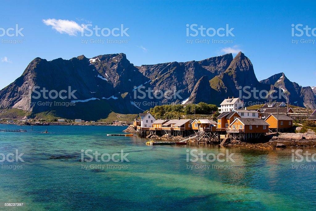 Rorbuer huts in Sakrisoya, Lofoten Islands stock photo