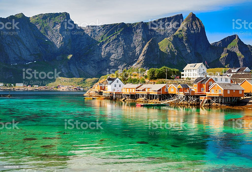 Rorbuer huts near Reine, Lofoten islands, Norway stock photo
