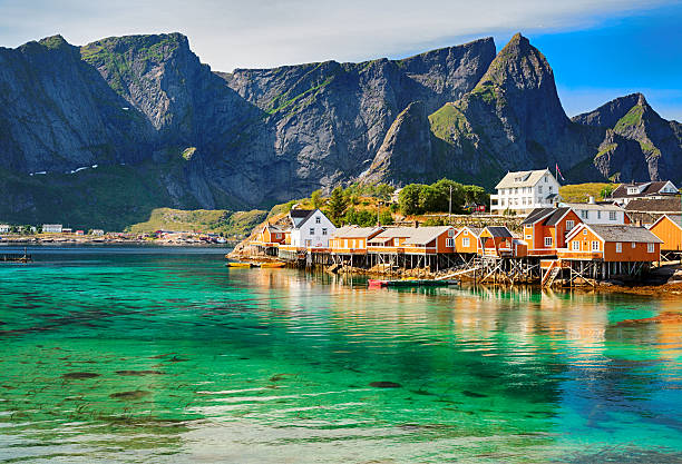 Rorbuer huts near Reine, Lofoten islands, Norway Rorbuer (rorbu) huts in Lofoten, Norway lofoten stock pictures, royalty-free photos & images