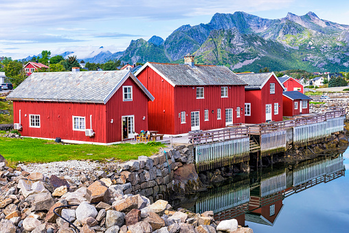 Rorbuer In Kabelvag Village Norway Stock Photo - Download Image Now - iStock
