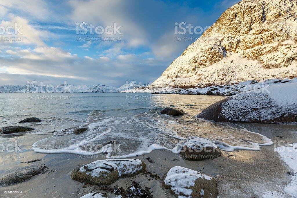 Rorvik-beach near Henningsvaer stock photo