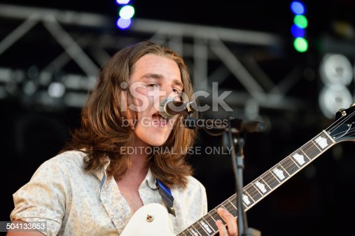Dundrennan Scotland, UK - July 26, 2014: Rory Fleming-Stewart lead vocalist and guitarist with Model Aeroplanes performing on the Summerisle stage at the 13th Wickerman Festival at Dundrennan, Dumfries and Galloway, Scotland on 26 July 2014.