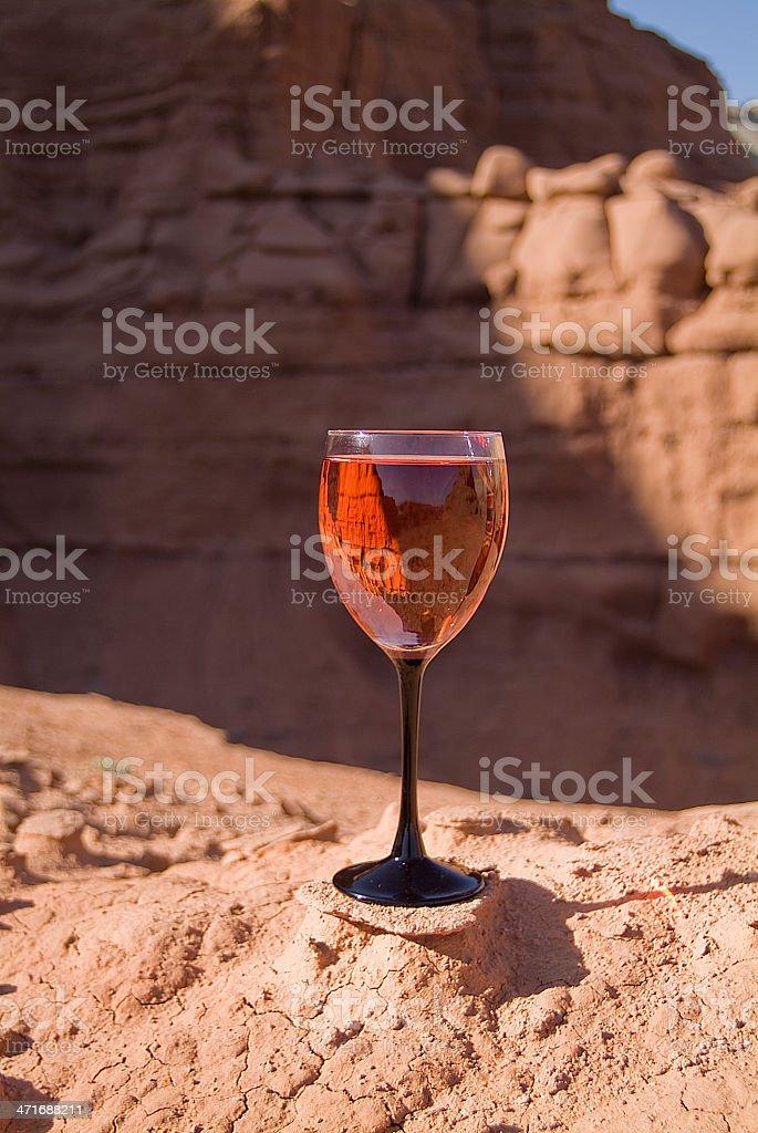 Rosé Wine Glass Inverted Image Kodachrome Basin State Park Utah stock photo