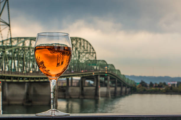 Rosé Wine Glass Upside Down Bridge Columbia River Oregon Washington stock photo