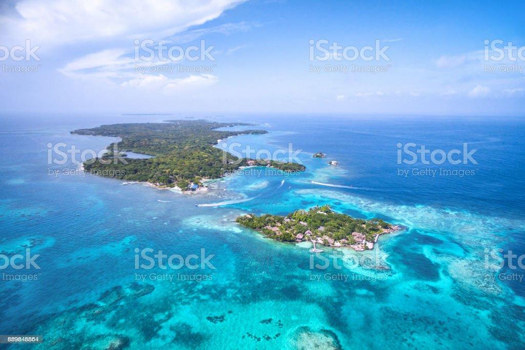 Rosario Adaları içinde Cartagena de Indias, Kolombiya, havadan görünümü stok fotoğrafı