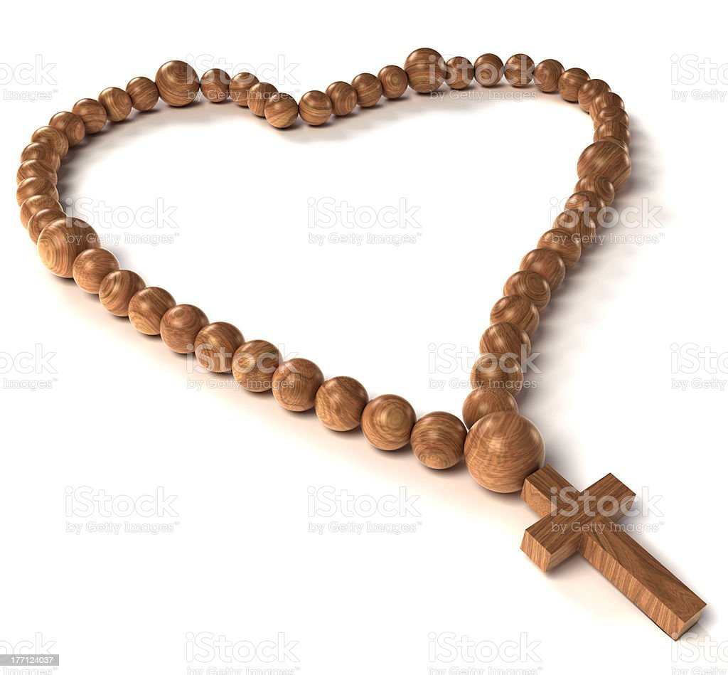 Rosary beads heart shape on white royalty-free stock photo