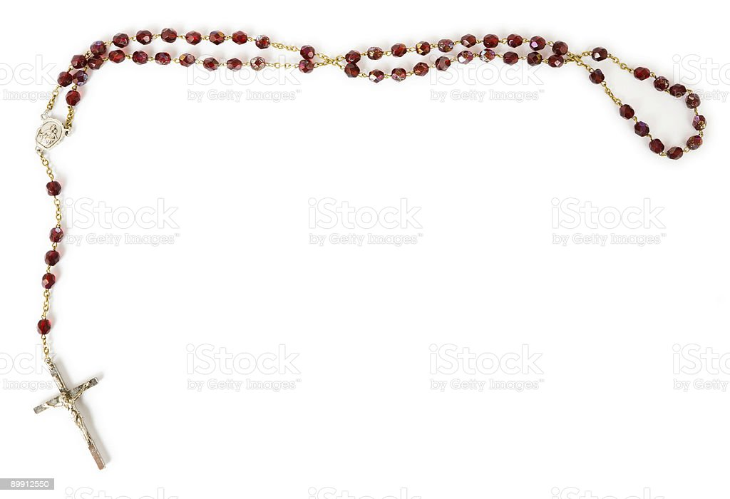 Rosary beads isolated on white royalty-free stock photo