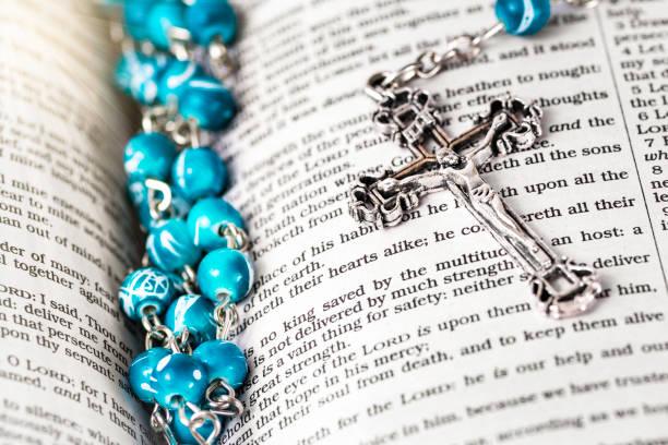 Rosary Bible stock photo