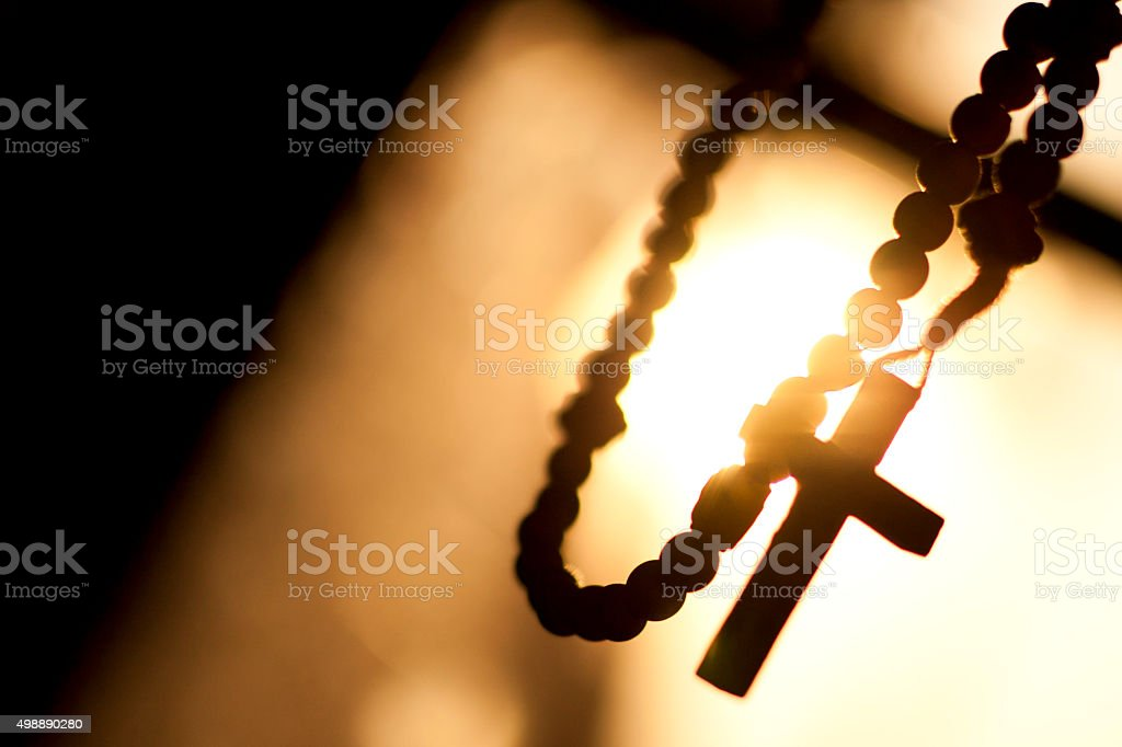 Rosary, Cross, Sun, Window, Background, Space To Text stock photo
