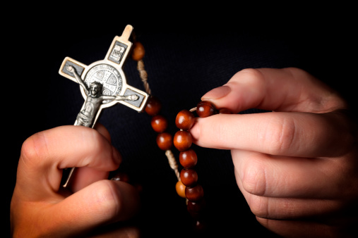 Rosary In Hands Stock Photo - Download Image Now