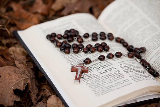 Rosary inside of a book on top of leaves Bible and rosary Amen stock pictures, royalty-free photos & images