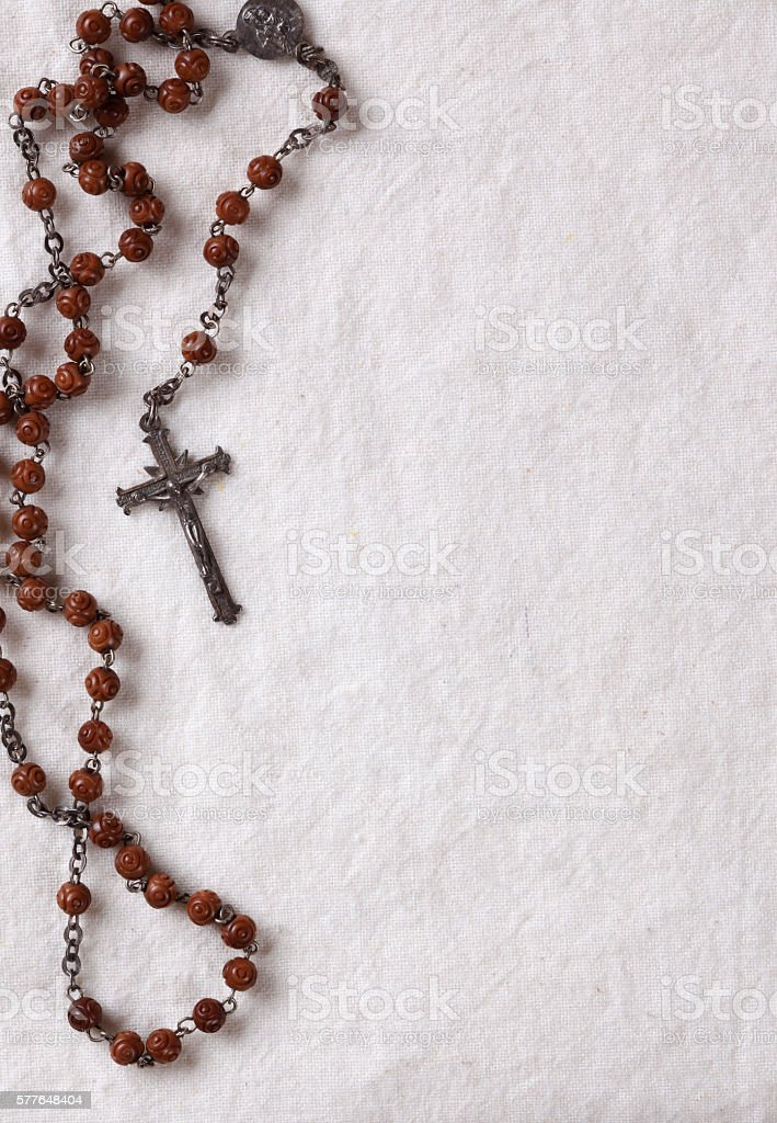 Rosary on natural background stock photo