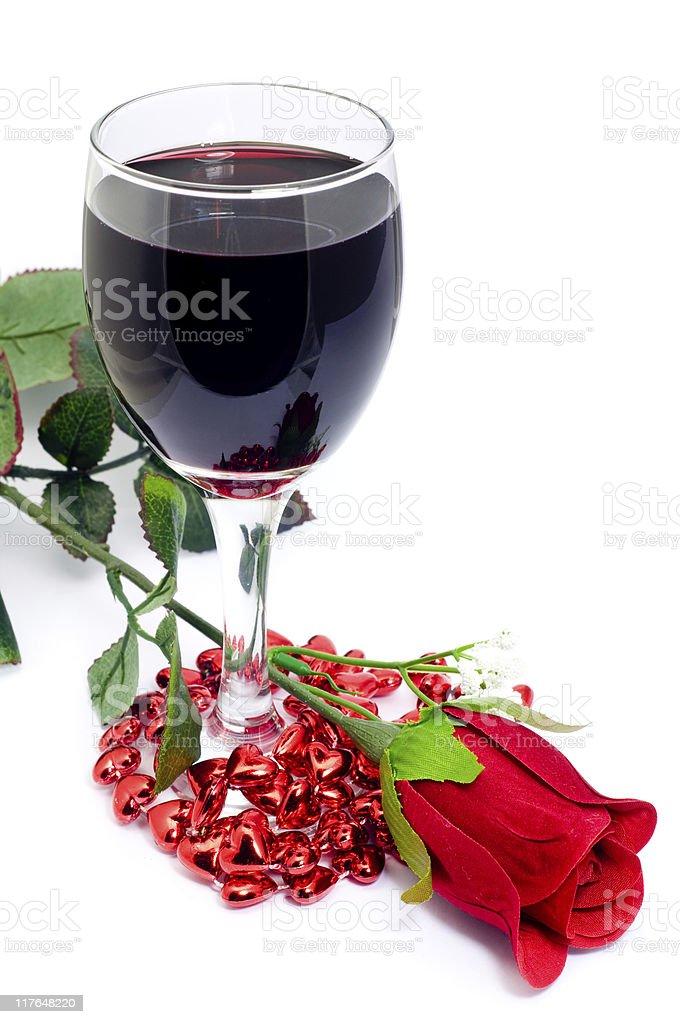 Rose & Wine royalty-free stock photo