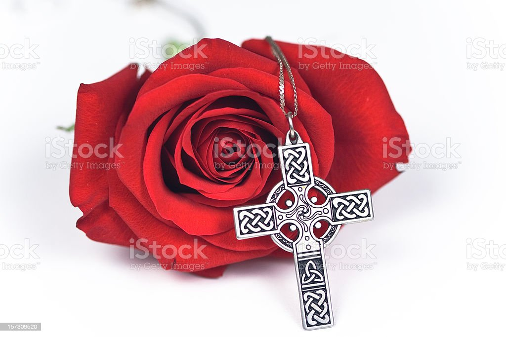 Rose and cross stock photo