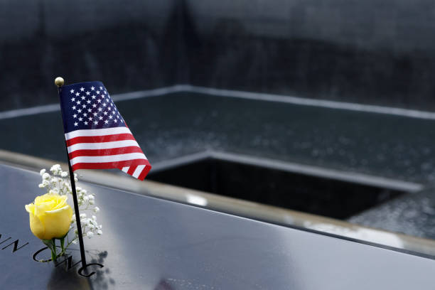 Rose and Flag at the Memorial World Trade Center stock photo