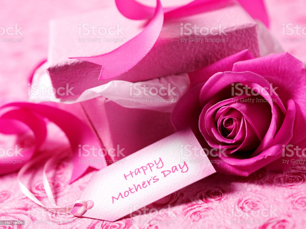 Rose and Gift for Mother's Day royalty-free stock photo