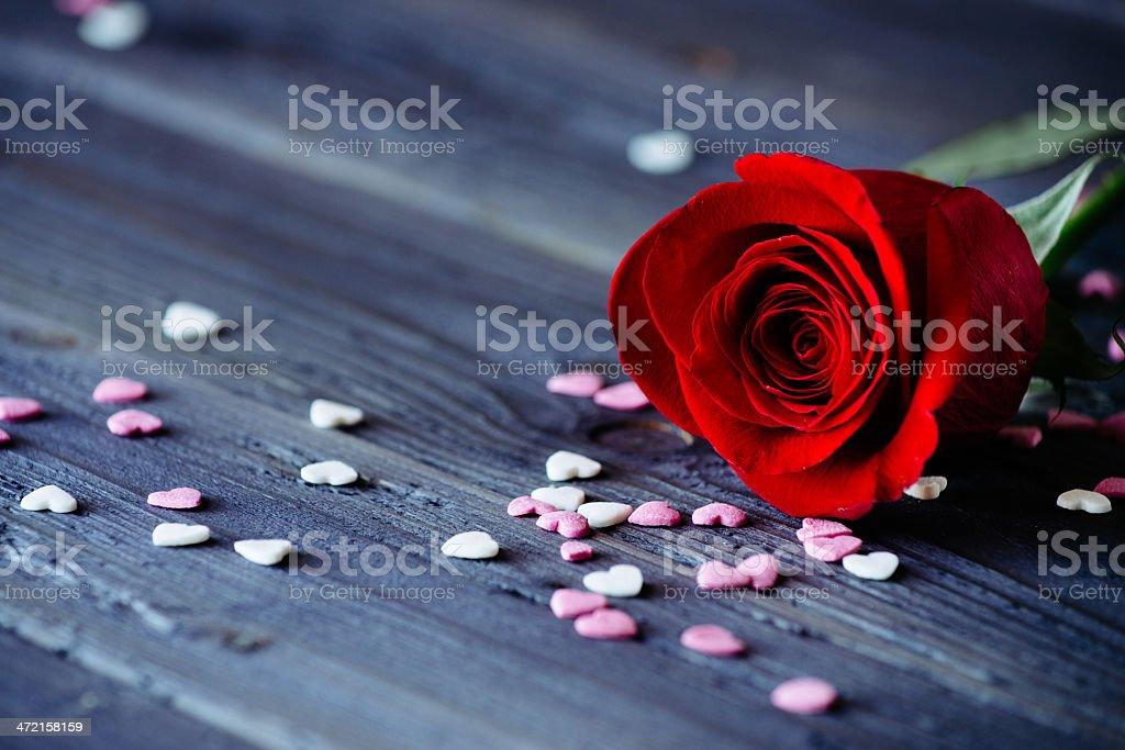 Rose und kleines Herz-Liebe Konzept für – Foto