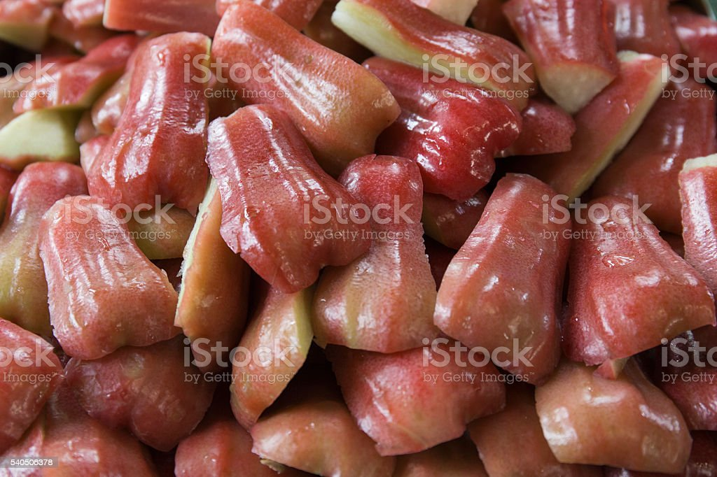 Rose apple is red fruit on dish stock photo