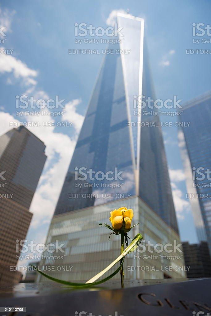 Rose at National September 11 Memorial in New York City stock photo