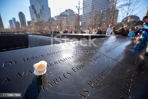 Tourists are visiting 9/11 Memorial. National September 11 Memorial site in Lower Manhattan, New York City, Manhattan, USA.