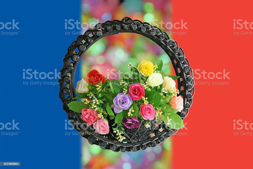 Rose Basket on flag of France for 'Pray For Paris' stock photo