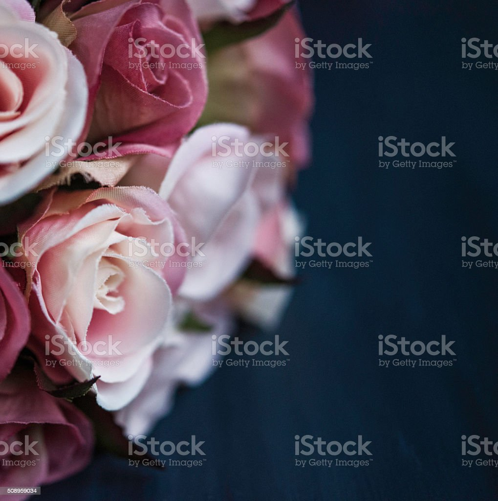 Rose bouquet in shades of pink with copyspace stock photo