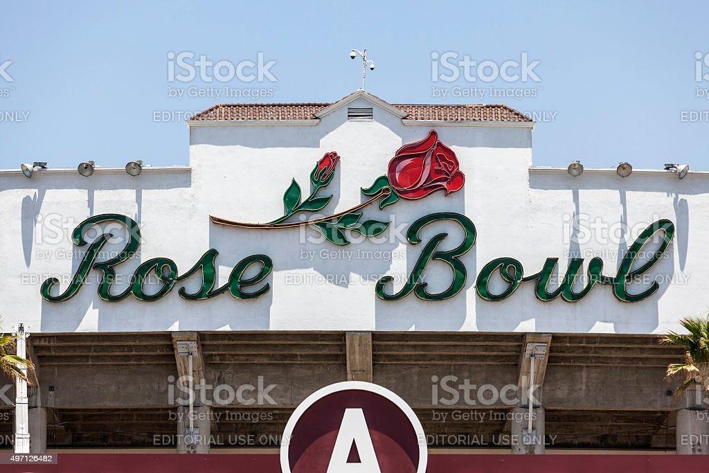 Rose Bowl Sign in Pasadena California stock photo