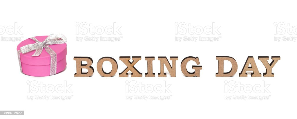 A rose boxe with words BOXING DAY, isolated on white stock photo