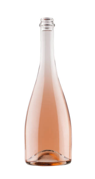 rose champagne bottle isolated on white stock photo