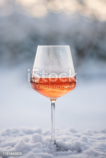 Rose champagne in snow