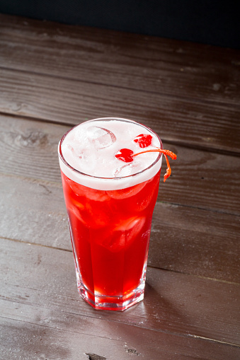 Rose Coctail With Ice On Black Background Stock Photo - Download Image Now