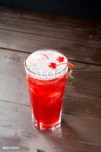 Rose Coctail With Ice On Black Background Stock Photo & More Pictures of Alcohol