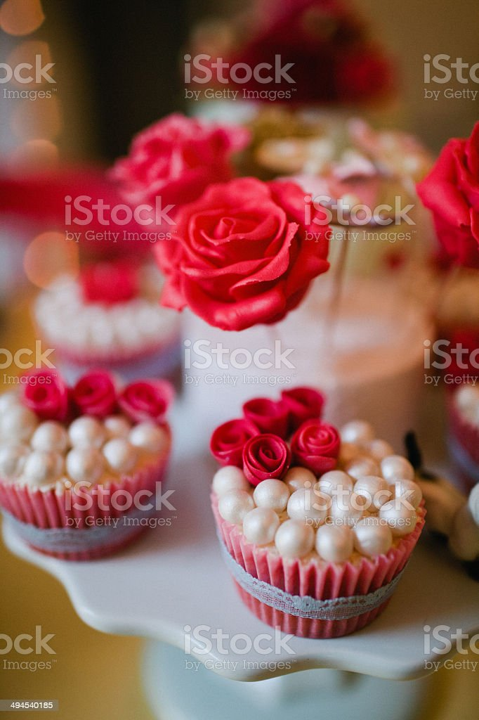 Rose cup cakes stock photo