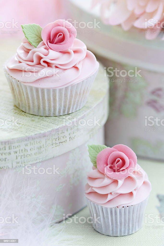 Rose cupcakes royalty-free stock photo