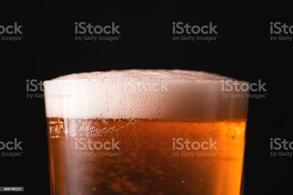 rose draft beer in large size glass stock photo